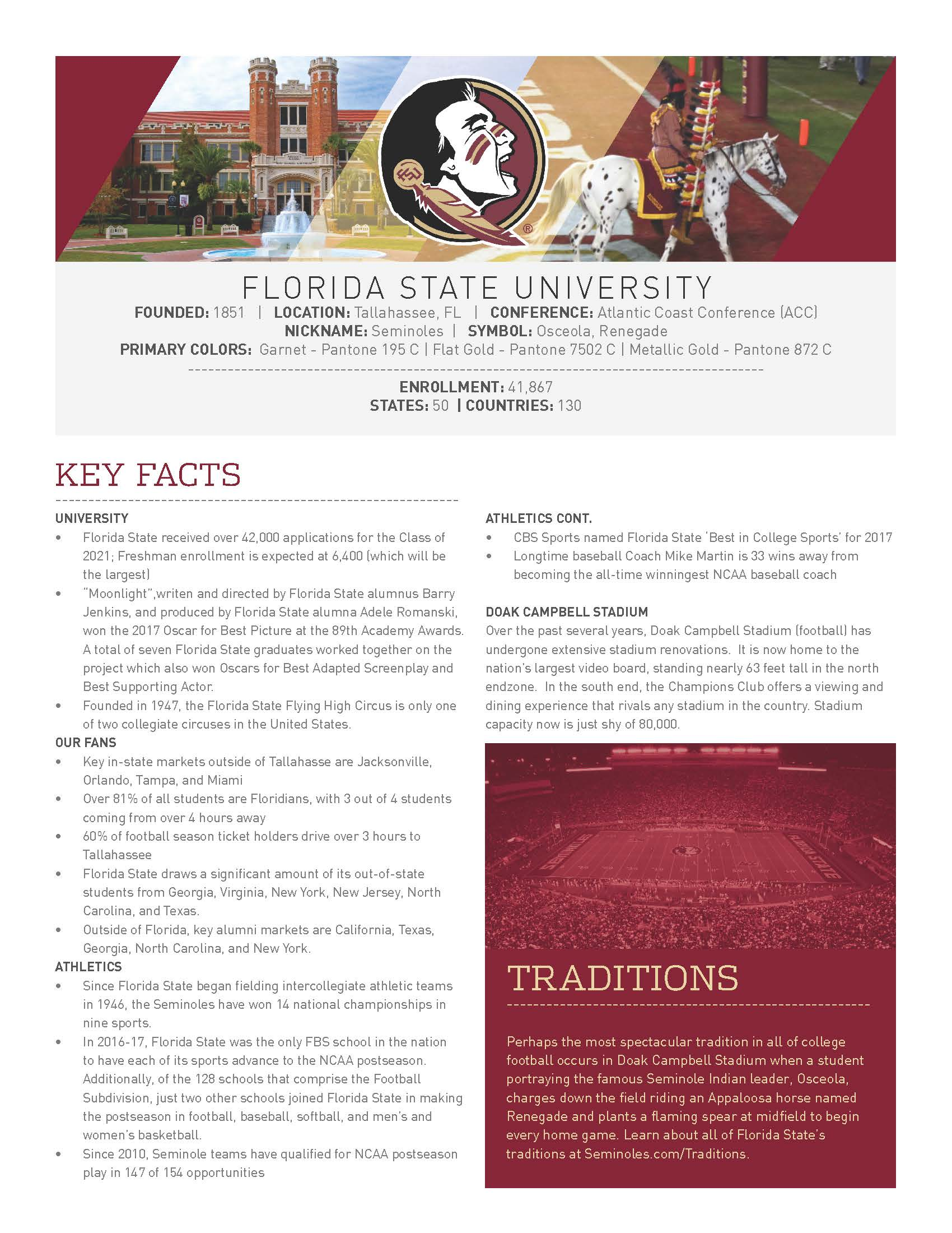 Florida State at a glance page 1